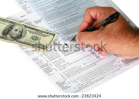 a person signs us tax forums with a payment or tax return isolated on white