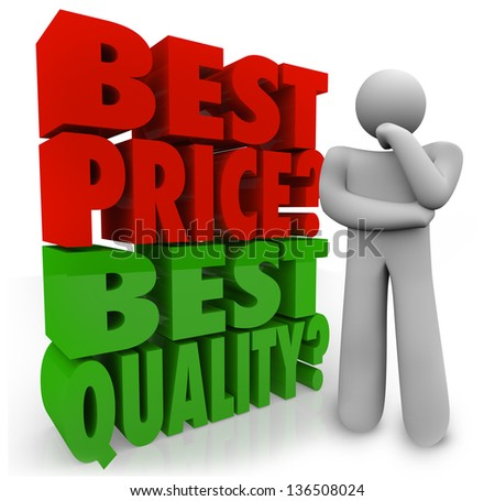 A person thinks about whether Best Price or Quality is more important in making a buying decision when comparison shopping