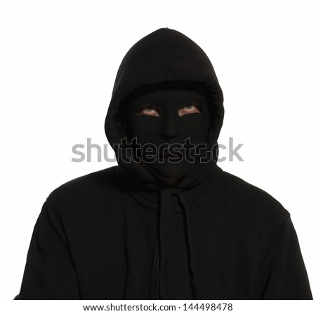 A person undercover wearing a black mask and black hoodie.