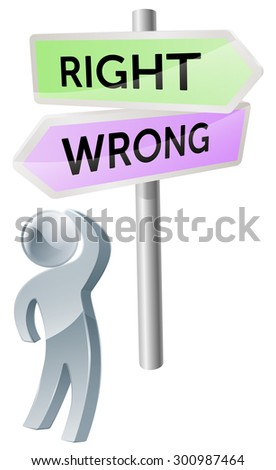 A person with a decision to make looking up at a sign with directions to right or wrong - stock photo