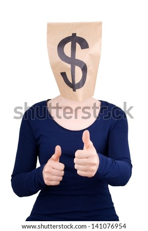 a person with paper bag head and dollar sign on it showing thumbs up, isolated