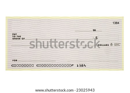 A personal check without names or addresses with altered account numbers. - stock photo