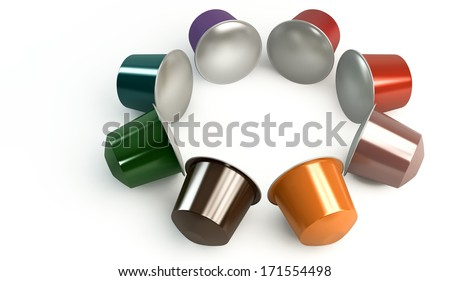 A perspective view of a circular collection of colorful instant espresso coffee capsules sealed with foil on an isolated white background - stock photo