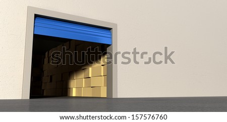 A perspective view of a storage room with an open blue roller door filled with stacks of cardboard boxes on an isolated white wall background - stock photo
