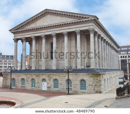 A perspective view of Birmingham Town Hall, England