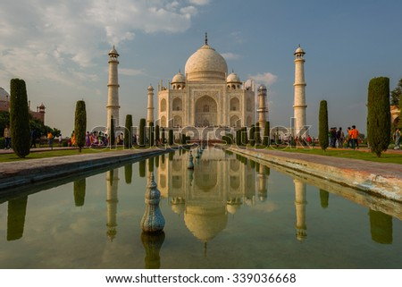 A perspective view on Taj-Mahal mausoleum in evening.