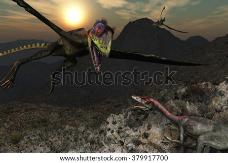 A Peteinosaurus is swooping down on a Compsognathus dinosaur - 3d render. - stock photo