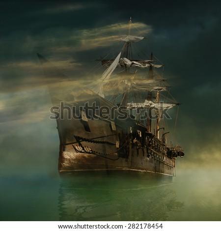 A phantasmagorical old ship sailing in calm waters - stock photo