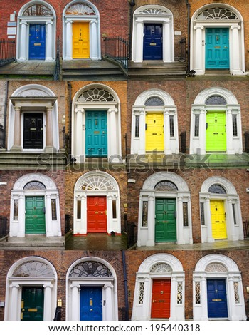 A photo collage of 16 colourful front doors to houses and homes - stock photo