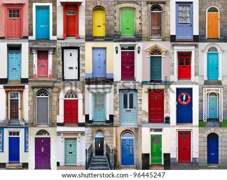 a photo collage of 32 colourful front doors to houses and homes - Front Door Photos Of Homes