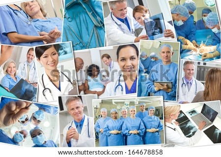 A photo montage of interracial medical people, men and women, doctors and nurses team in hospital, surgery operation, helping examining patients & analyzing x-rays.