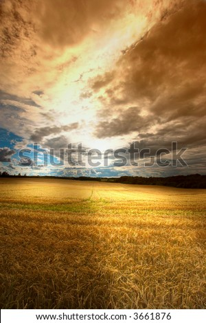 A photo of a dramatic sunset at the countryside