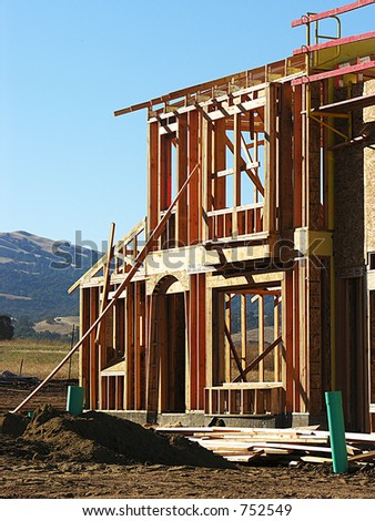 A photo of a home being built