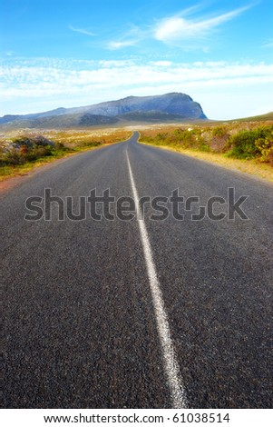 a photo of a long road in South African wilderness - stock photo