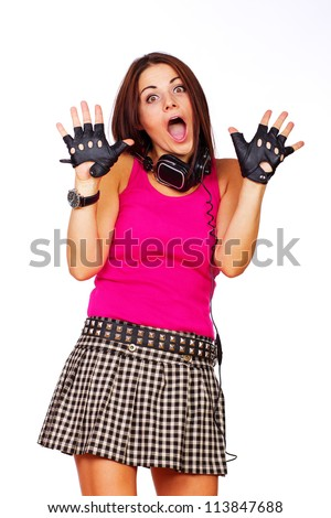 A photo of a screaming hot emotional girl - stock photo
