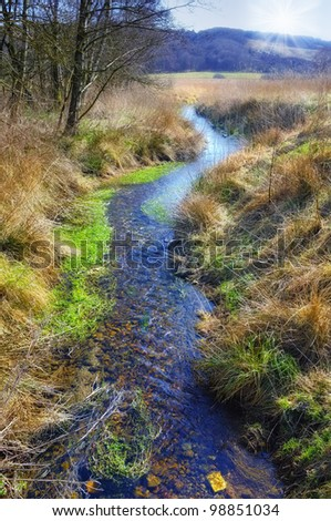 A photo of a Small river in spring landscape - stock photo