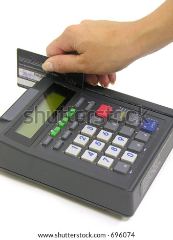 A photo of a woman making a purchase - stock photo