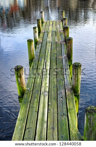 A photo of a wooden jetty - stock photo