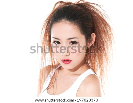 A photo of beautiful girl is in fashion style,