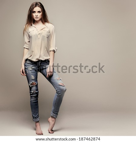 A photo of beautiful girl is in fashion style, glamour - stock photo