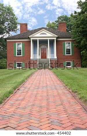 a photo of farmington, a colonial home in Louisville, Ky built from a design by Thomas Jefferson - stock photo