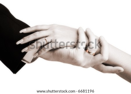 A photo of hands, isolated on white