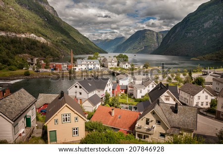 A photo of houses in Hellesylt, Norway. - stock photo