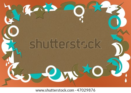 A photo of kraft paper on a coral  background surrounded by turquoise,  brown & white shapes