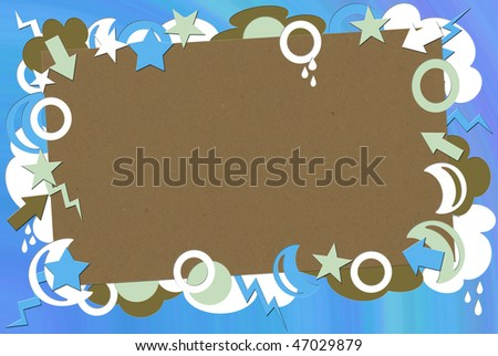 A photo of kraft paper surrounded by green, blue brown & white shapes - stock photo