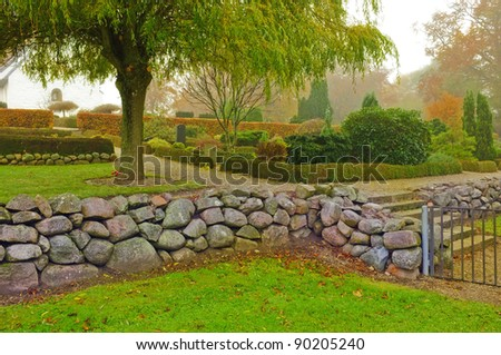 A photo of local graveyard in Denmark - stock photo