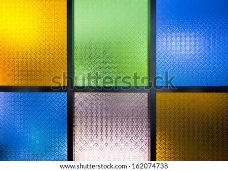 a photo of multicolor  glass window - stock photo