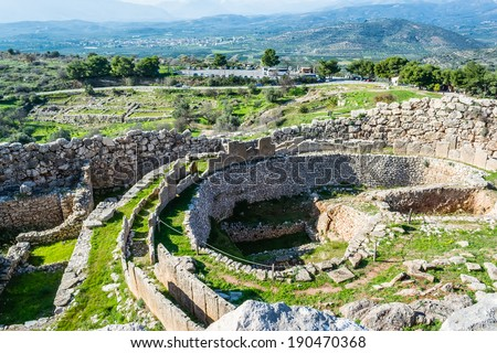 A photo of Mycenae, archaeological place at Greece - stock photo
