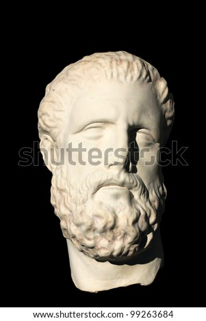 A photo of old Greek skulpture over black - stock photo