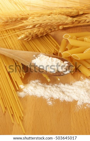 A photo of pasta and wheat up close in the kitchen.