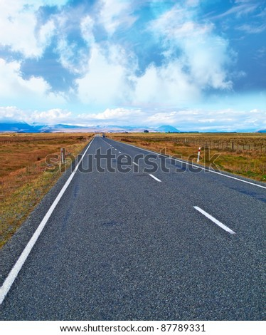 A photo of road in New Zealand - stock photo