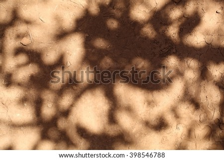 A photo of shadows on brown earth.