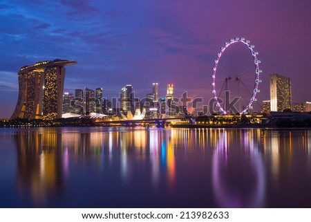 a photo of Singapore skyline in a twilight blue sky.