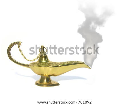 A photo of smoke coming out of a genie lamp - stock photo