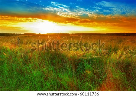A photo of sunset in the countryside, Denmark