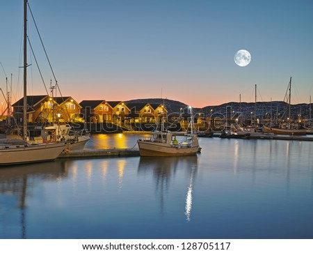 A photo of the harbor of Bodo at night, North of the Polar Circle, Norway