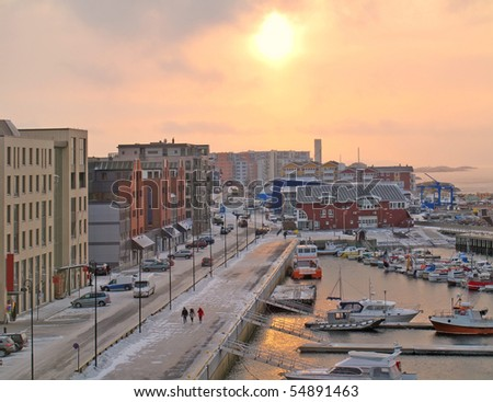 A photo of the midtday sun in Bodo in wintertime - stock photo