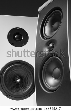 a photo of two black and white speakers