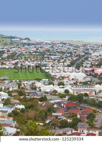 A photo of urban area of Wellington, New Zealand - stock photo