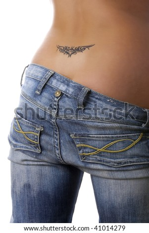 A photo of woman buttock with tattoo. Isolated. - stock photo