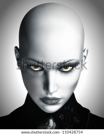 A photo-realistic black and white digital illustration of a beautiful, bald, futuristic woman staring into camera.