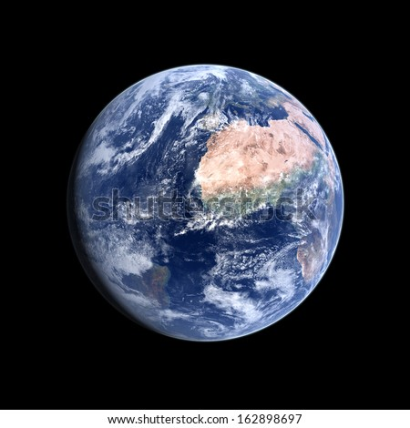 A photo-realistic rendering of our Home-planet Earth on a clean black background.