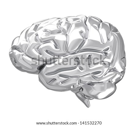 A photo realistic silver brain isolated on white (series) .The rendering has even tiny scratches. - stock photo