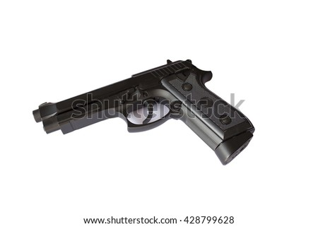 A photograph of a dirty/dusty revolver or gun (pistol) on a white background