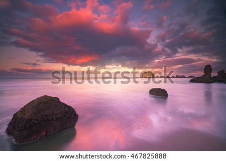 A photograph of colorful morning clouds at beach