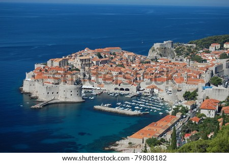 A photograph of the ancient city of Dubrovnik in Croatia